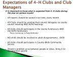 expectations of 4 h clubs and club managers