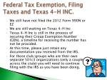 federal tax exemption filing taxes and texas 4 h inc