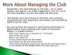 more about managing the club