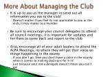 more about managing the club1