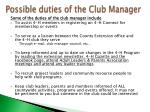 possible duties of the club manager