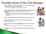 possible duties of the club manager1