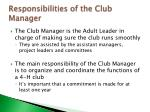 responsibilities of the club manager