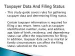 taxpayer data and filing status