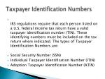 taxpayer identification numbers