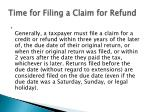 time for filing a claim for refund