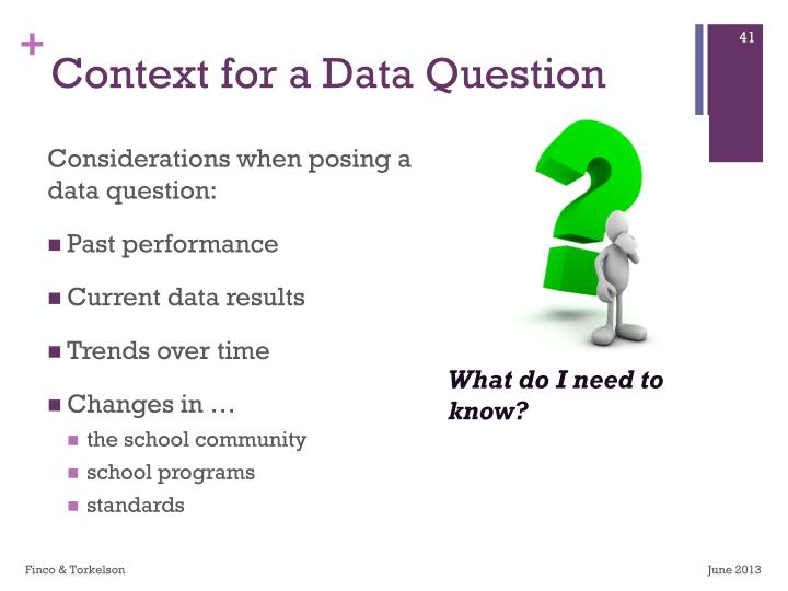 Context for a Data Question