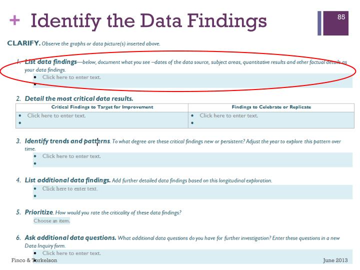 Identify the Data Findings