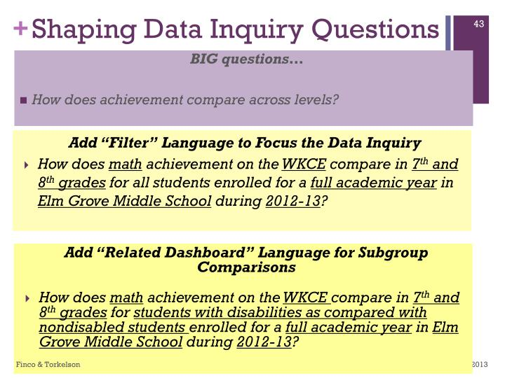 Shaping Data Inquiry Questions