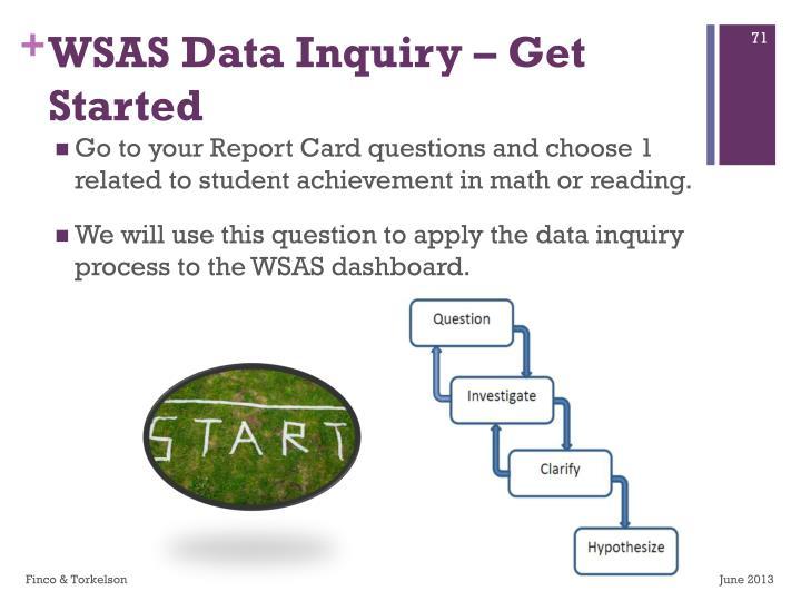 WSAS Data Inquiry – Get Started