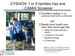 cyshcn 1 in 5 families has one camhi screener