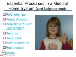 essential processes in a medical home system and neighborhood