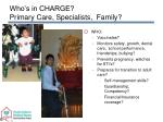 who s in charge primary care specialists family