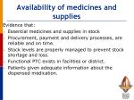 availability of medicines and supplies