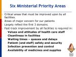 six ministerial priority areas