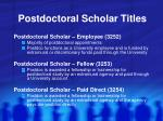 postdoctoral scholar titles