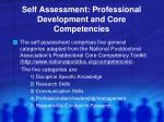 self assessment professional development and core competencies