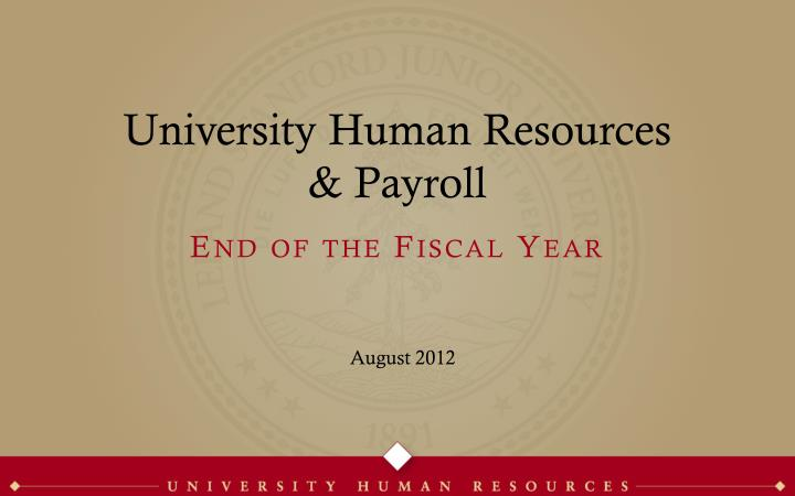 university human resources payroll n.