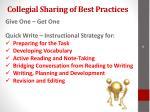 collegial sharing of best practices