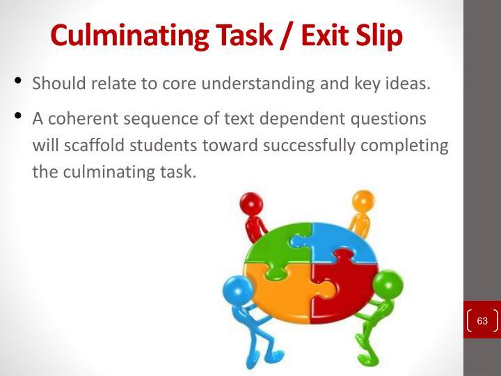 Culminating Task / Exit Slip