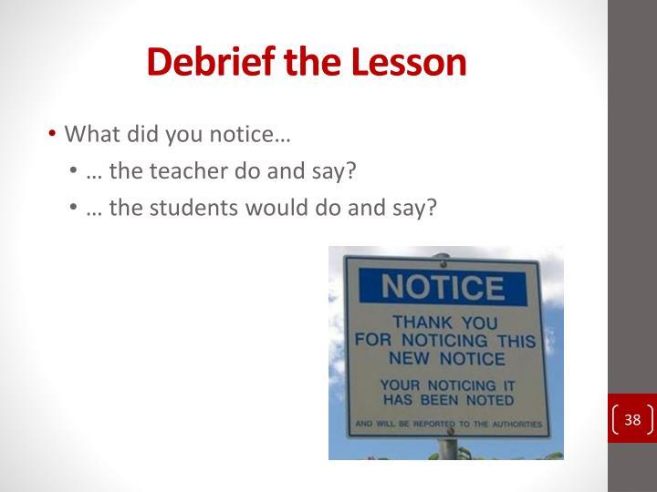 Debrief the Lesson