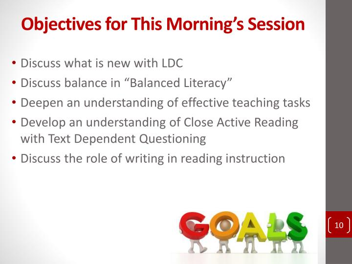 Objectives for This Morning's Session
