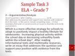 sample task 3 ela grade 7