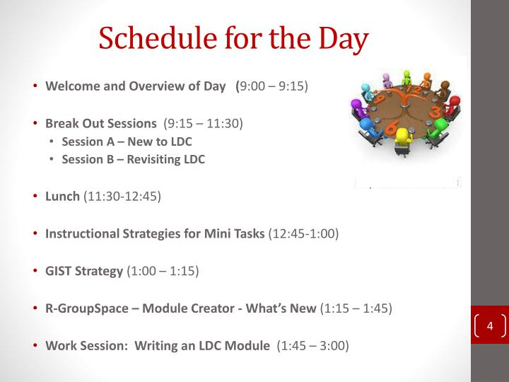 Schedule for the Day