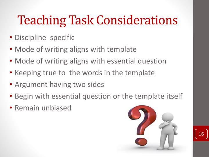 Teaching Task Considerations