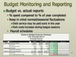 budget monitoring and reporting