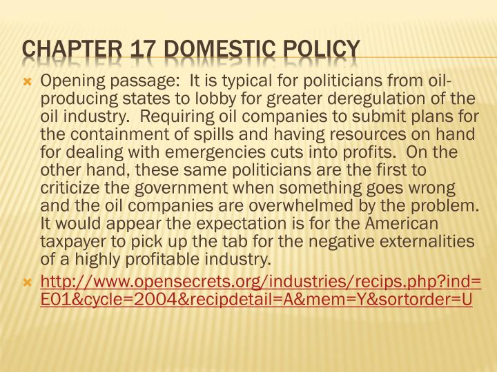 chapter 17 domestic policy n.