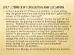 step 1 problem recognition and definition