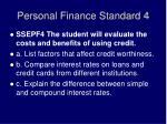 personal finance standard 4