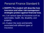 personal finance standard 5