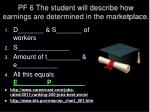 pf 6 the student will describe how earnings are determined in the marketplace