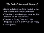 the end of personal finance