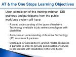 at the one stops learning objectives