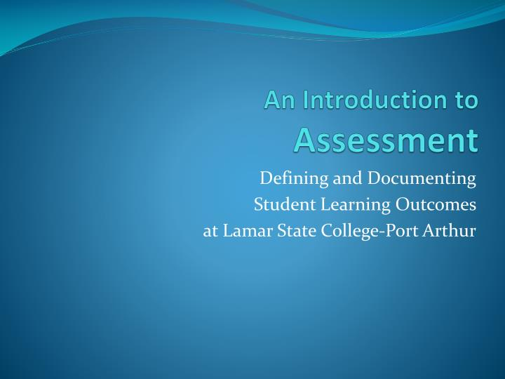 an introduction to assessment n.