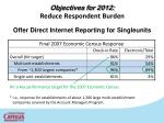 objectives for 2012 reduce respondent burden offer direct internet reporting for singleunits