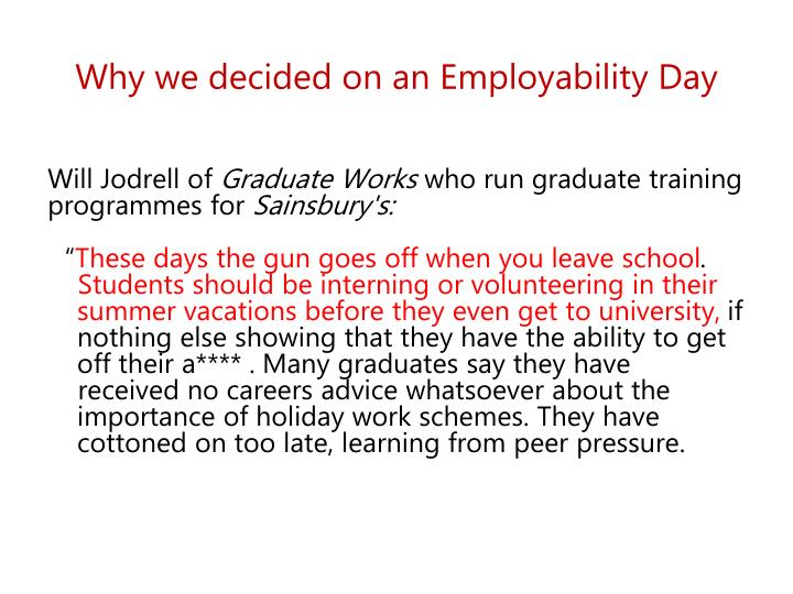 why we decided on an employability day n.