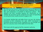 mca circular dated 18 9 2013 on notification of 98 new sections