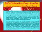 mca valentine day circular dated 14 2 2014 on sec 185 of ca 2013