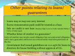 other points relating to loans guarantees