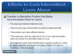efforts to curb intermittent leave abuse7