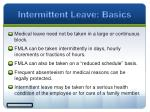 intermittent leave basics