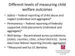 different levels of measuring child welfare outcomes