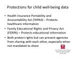 protections for child well being data