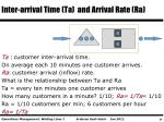 inter arrival time ta and arrival rate ra