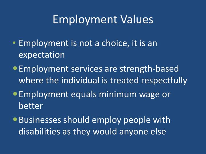 Employment values