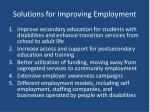 solutions for improving employment
